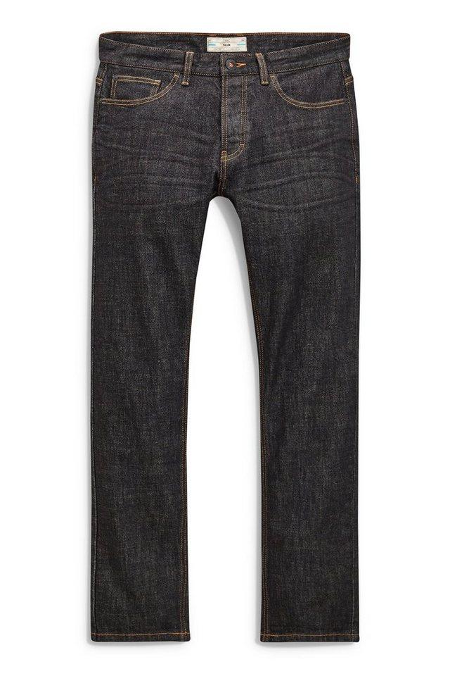 Next Slim-Fit Black Raw Denim Stretch-Jeans in Schwarz Slim-Fit