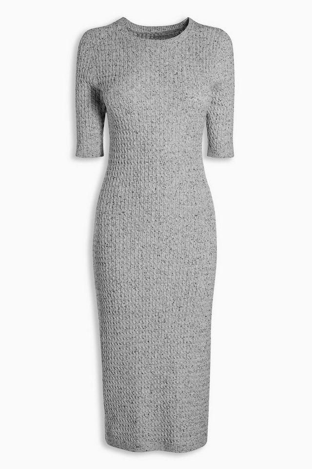 Next Kleid mit Zopfmuster in Grau