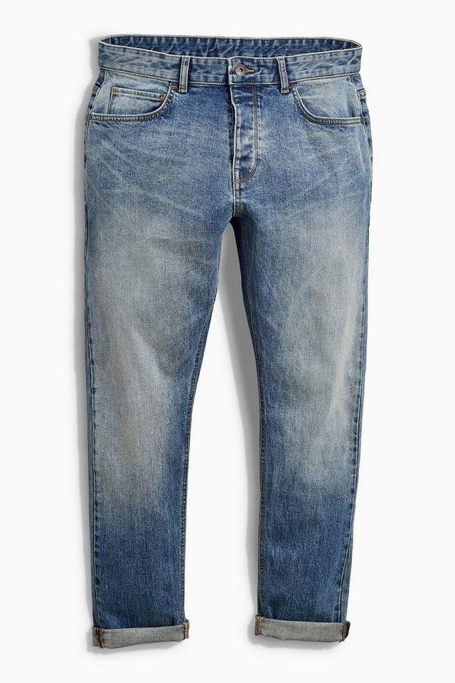 Next Slim-Fit Bleach Wash Stretch-Jeans in Blau Slim-Fit