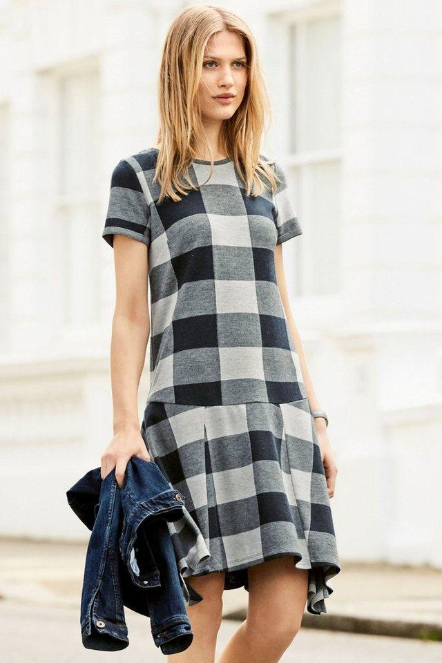 Next Asymmetrisches Kleid mit Karomuster in Blau