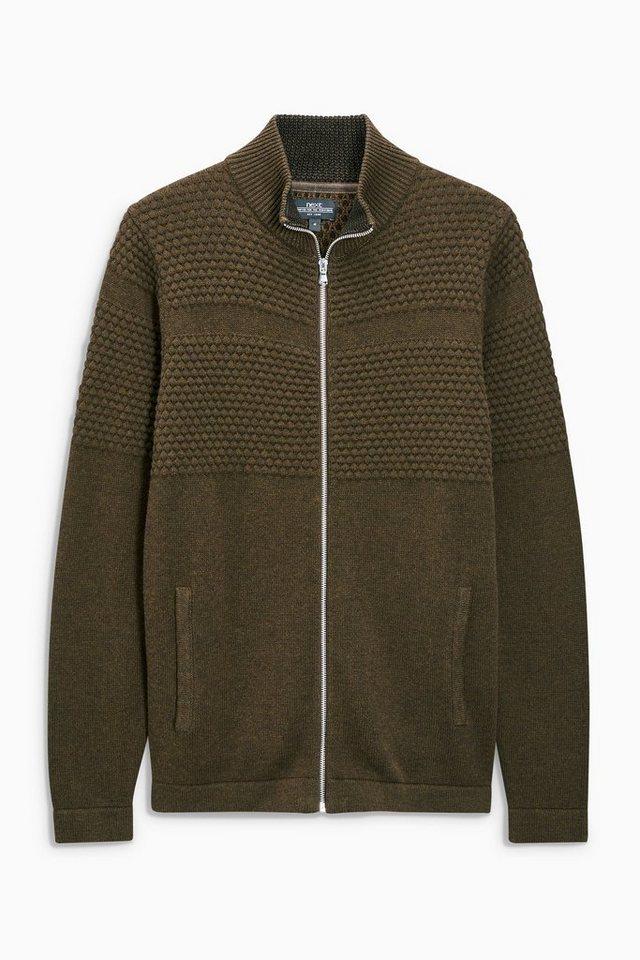 Next Jacke mit Reißverschluss und Strukturdetails in Khaki