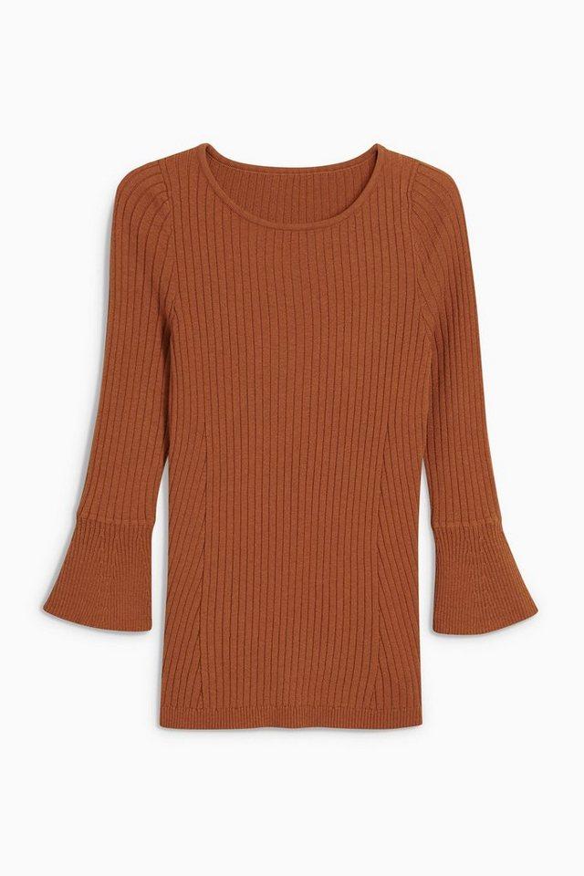 Next Pullover mit Trompetenärmeln in Rostbraun