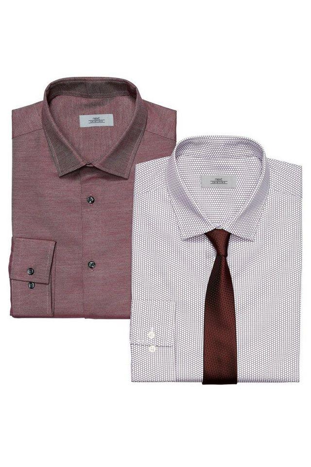 Next Gemustertes Hemd, einfarbiges Hemd und Krawatte im Set 3 teilig in Red