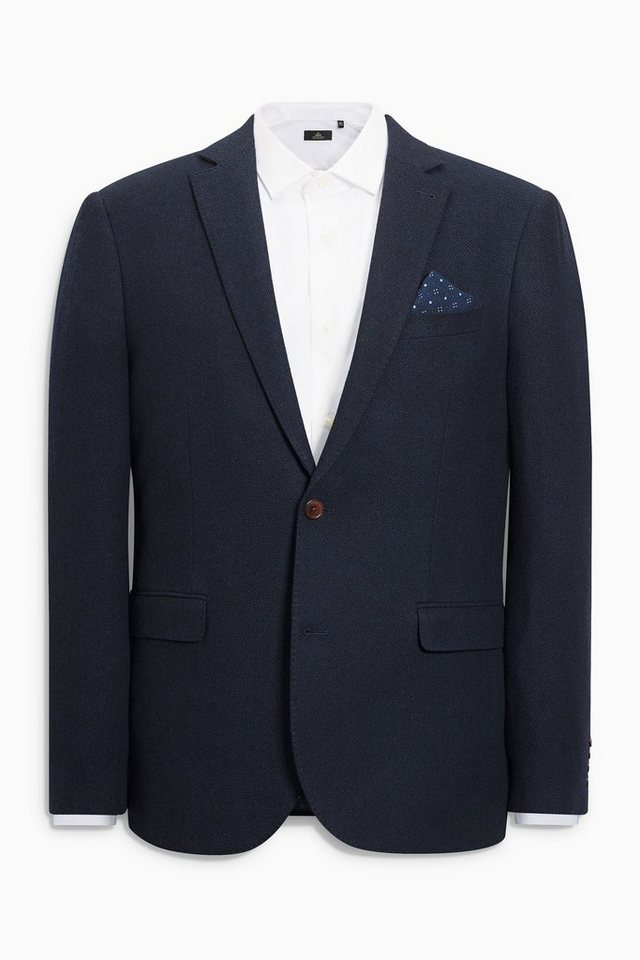 Next Strukturiertes Tailored-Fit Sakko in Blau