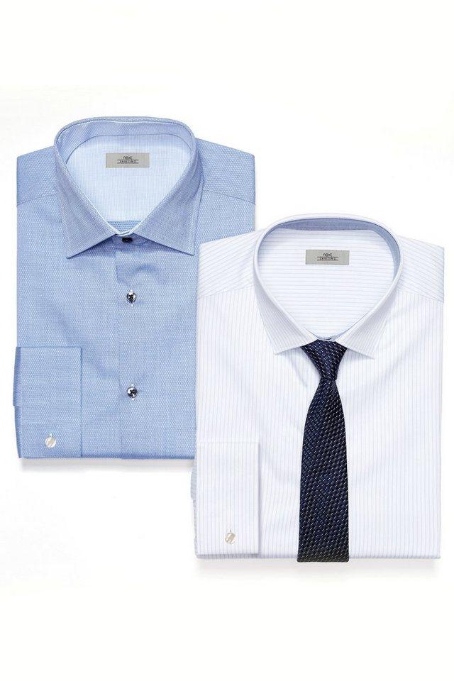 Next Blau gestreiftes Hemd, einfarbiges Hemd und Krawatte im Set 3 teilig in Blau