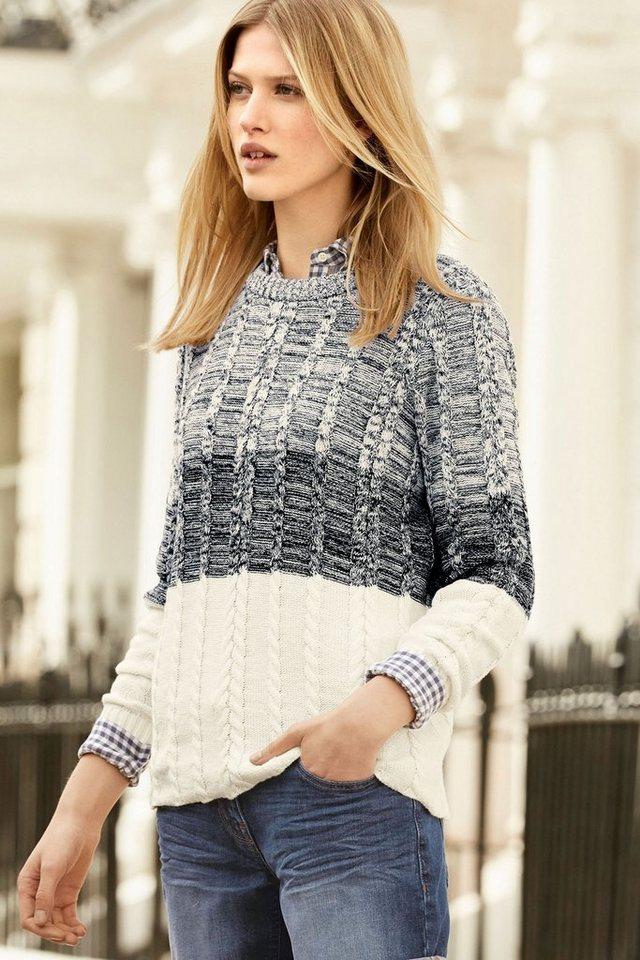 Next Pullover mit Ombré-Streifen und Zopfmuster in Blau