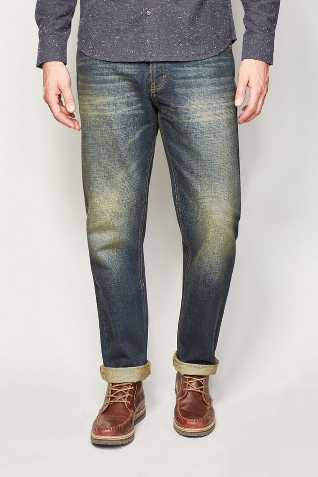 Next Straight-Fit Dirty Denim Distressed Stretch-Jeans in Blau Straight-Fit