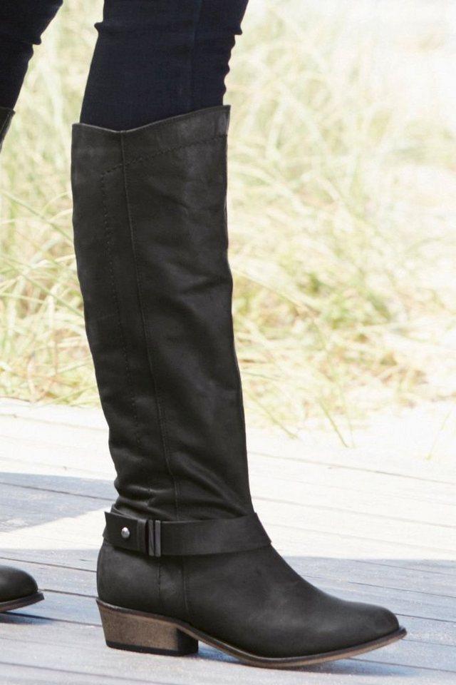 Next Hoher Stiefel aus Leder mit Riemendetail in Schwarz