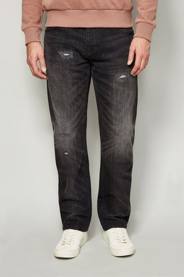 Next Straight-Fit Washed Black Distressed Stretch-Jeans in Schwarz Straight-Fit