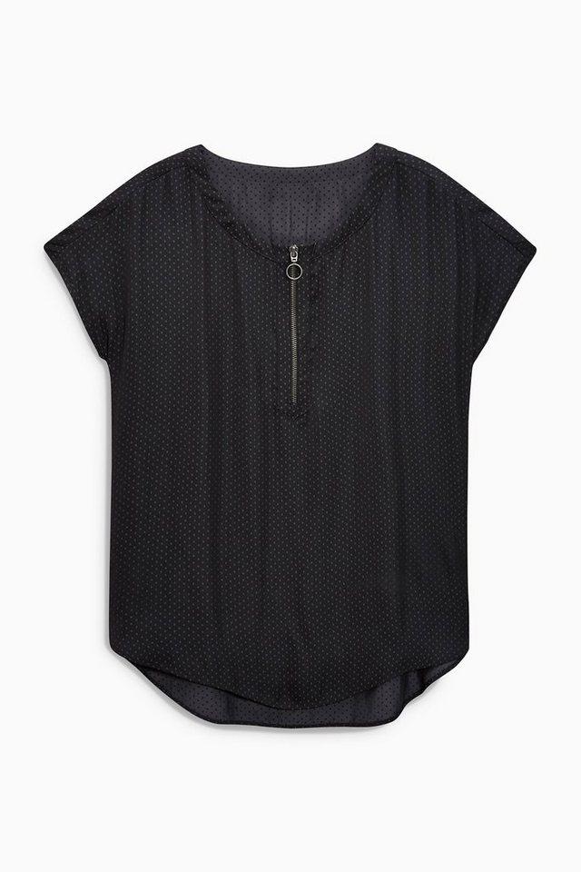 Next Kastenförmiges T-Shirt mit Reißverschluss in Marine