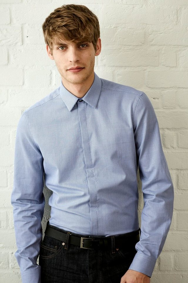 Next Strukturiertes Hemd mit verdeckter Knopfleiste in Blau