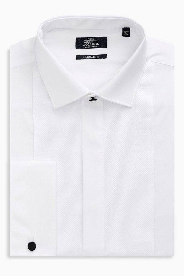 Next Hemd mit Latzeinsatz vorn in Weiß Umschlagmanschette
