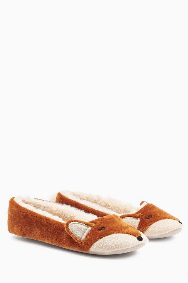 Next Ballerina-Hausschuhe im Fuchsdesign in Orange