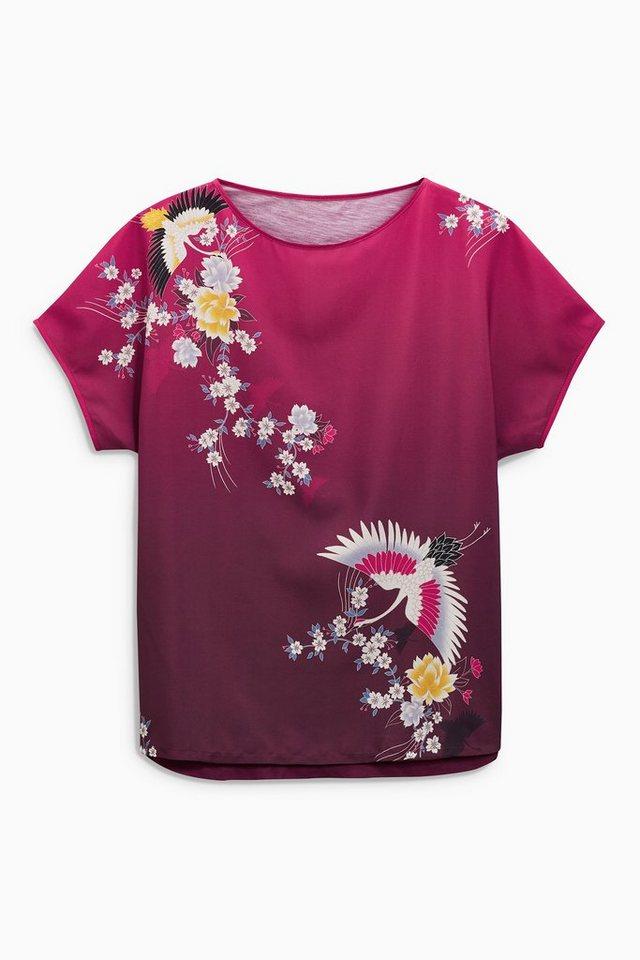 Next Gemustertes T-Shirt in Violettfarben