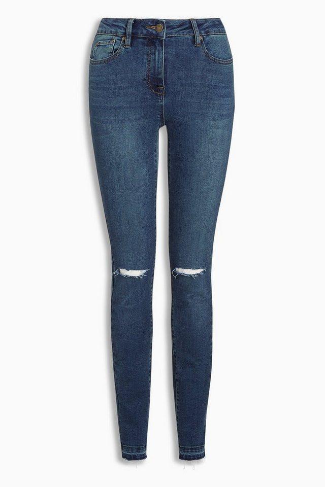 Next Skinny-Jeans mit Saum im Raw-Look in Mittelblau