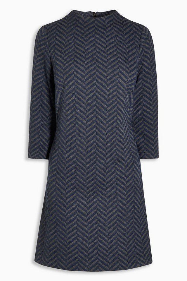 Next Kleid mit Jacquardmuster in Blau