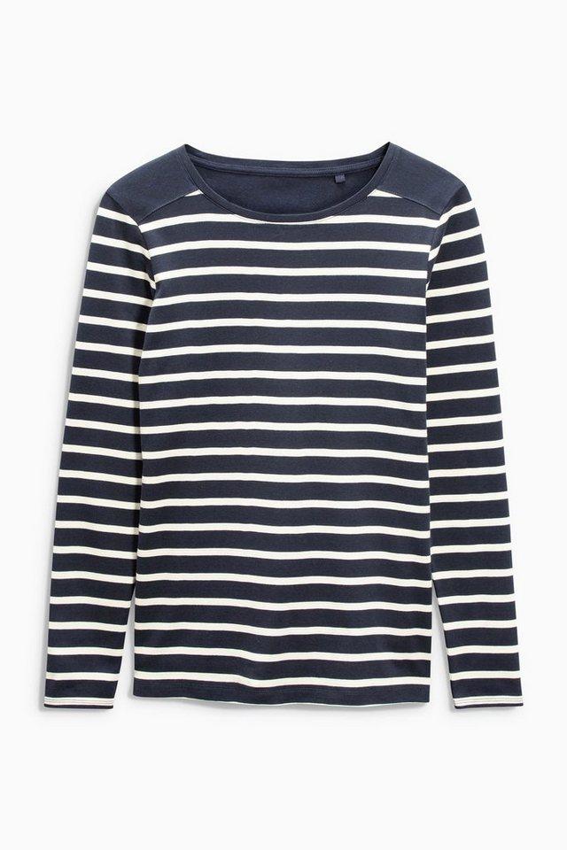 Next Gestreiftes Shirt in Ecru/marine
