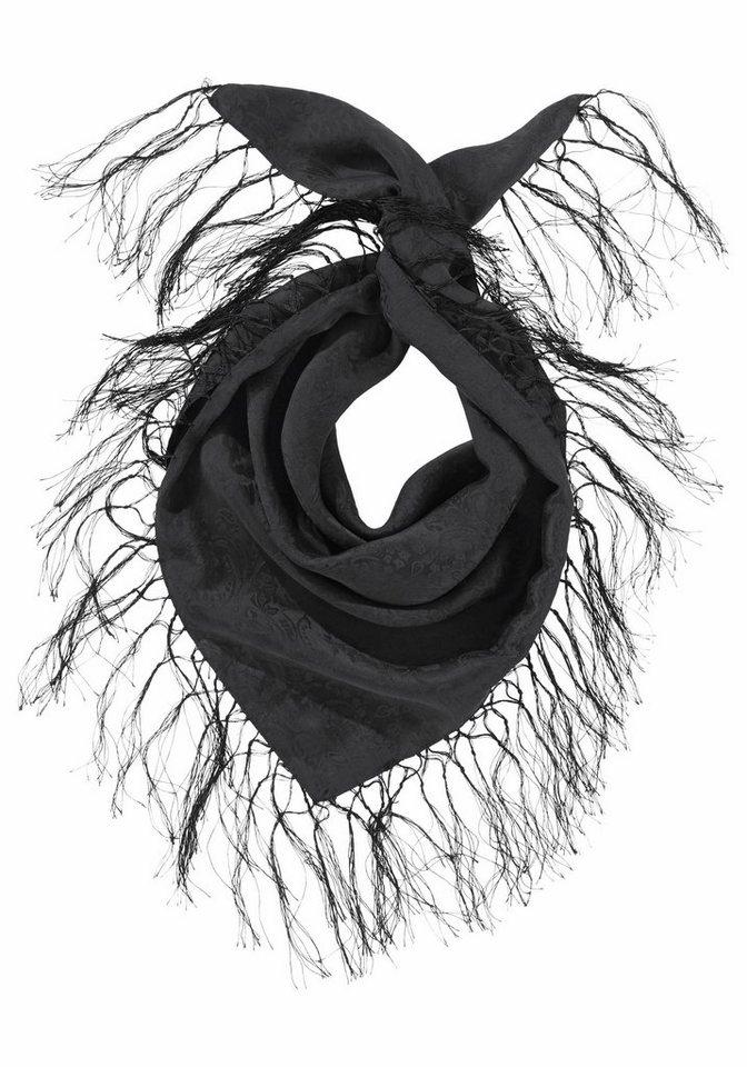 Passigatti Seidentuch mit langen Fransen in schwarz