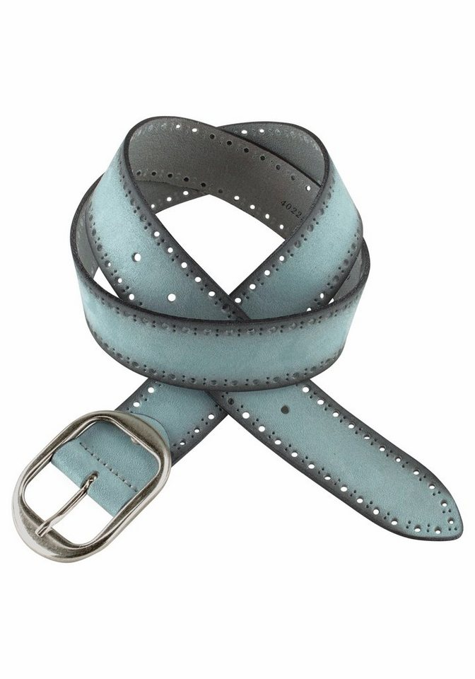 J. Jayz Ledergürtel mit dekorativer Schließe in aquablau