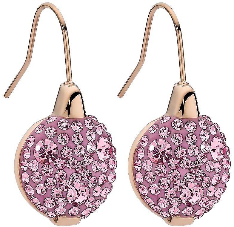 qudo Paar Ohrhaken mit Glassteinen, »Levanto, 301467« in roségoldfarben-rosa