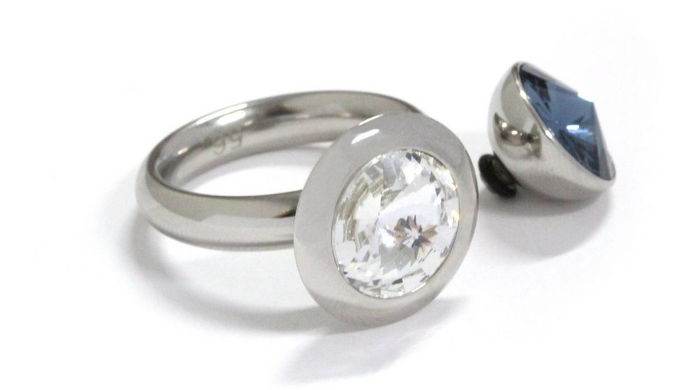 qudo Ring mit 2 Aufsätzen mit Swarovski® Kristallen (Set, 3 tlg.), »Famosa, O600001-O600006« in silberfarben-blau-weiß