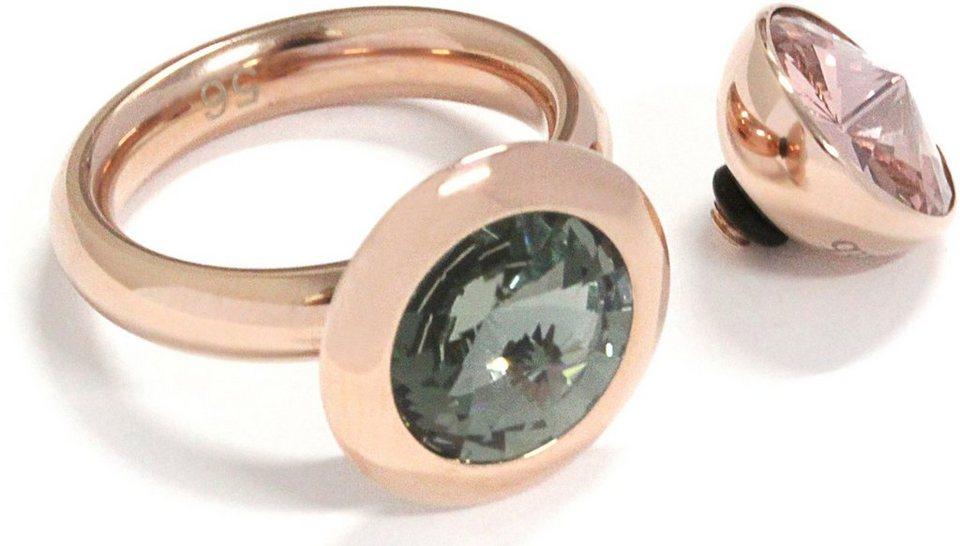 qudo Ring mit 2 Aufsätzen, mit Swarovski® Kristallen (Set, 3 tlg.), »Famosa, O600007-O6000012« in roségoldfarben-rosa-schwarz