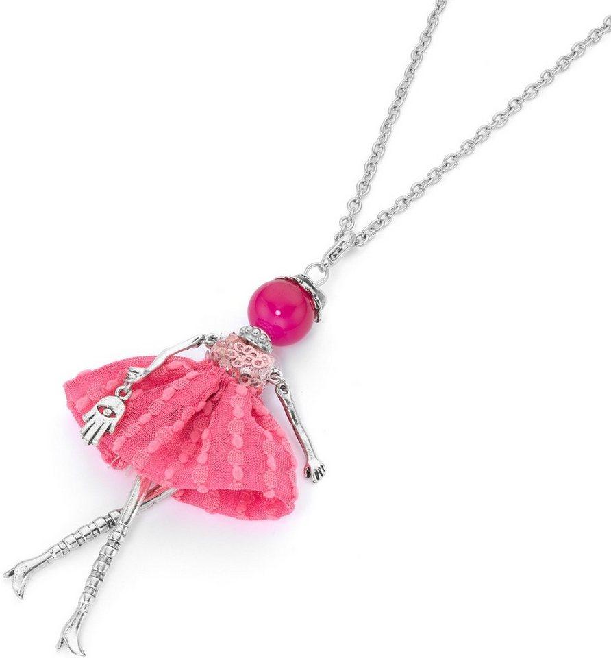 firetti Kette mit Anhänger mit Jade, »Pinke Dame« in silberfarben-pink