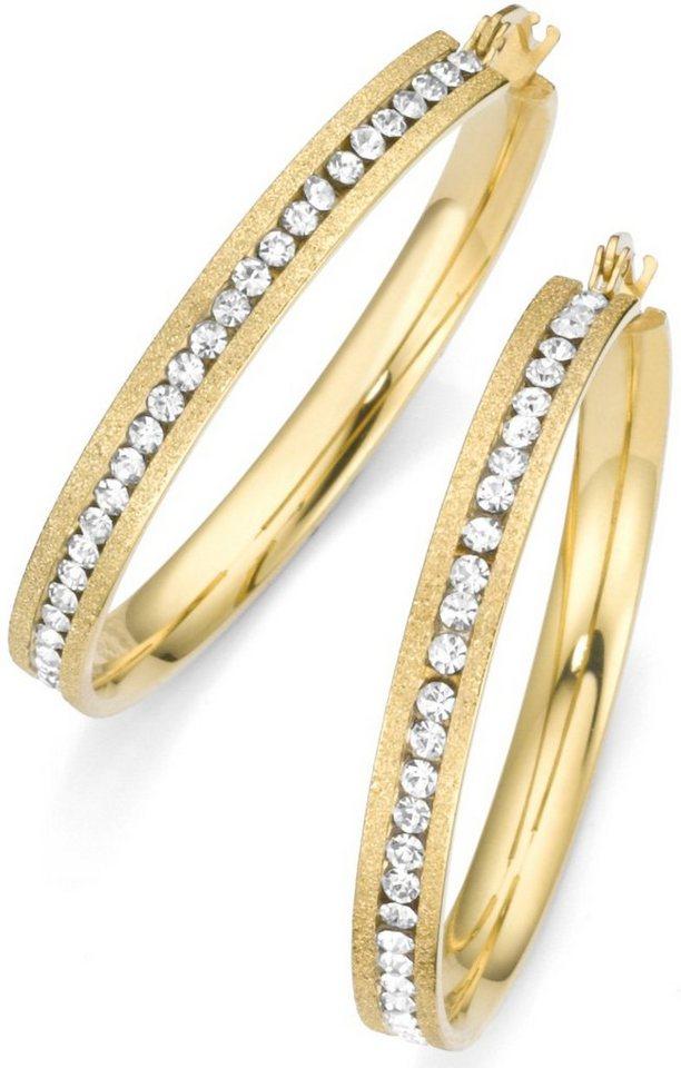 firetti Paar Creolen mit Kristallsteinen in goldfarben
