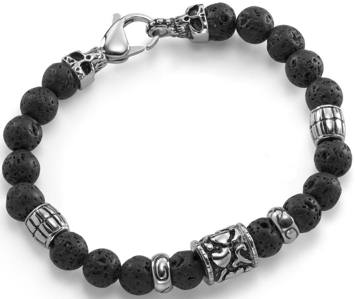 Firetti Armband »Totenkopf, teilweise geschwärzt« mit Lavasteinen