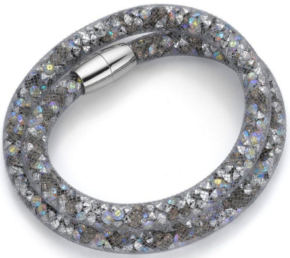 firetti Armband zum Wickeln mit Kristallsteinen in silberfarben-grau