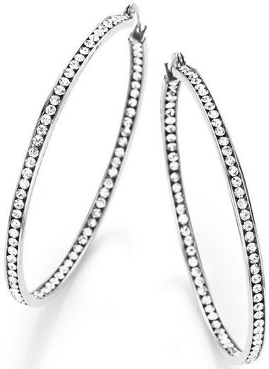 Firetti Paar Creolen »zur Hälfte vorne und innen gefasst«, mit Kristallsteinen