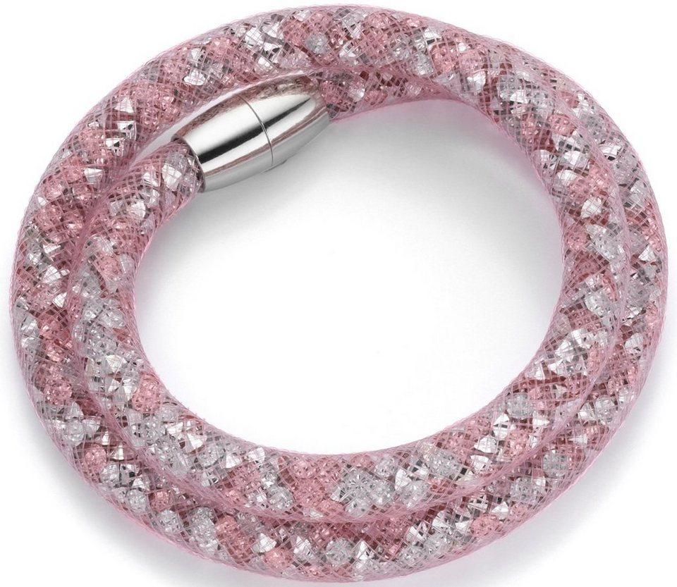 firetti Armband zum Wickeln mit Kristallsteinen in silberfarben-rosé