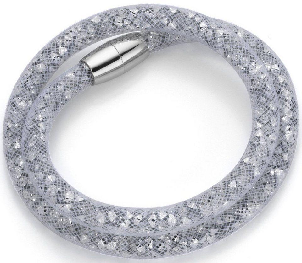 firetti Armband zum Wickeln mit Kristallsteinen in silberfarben