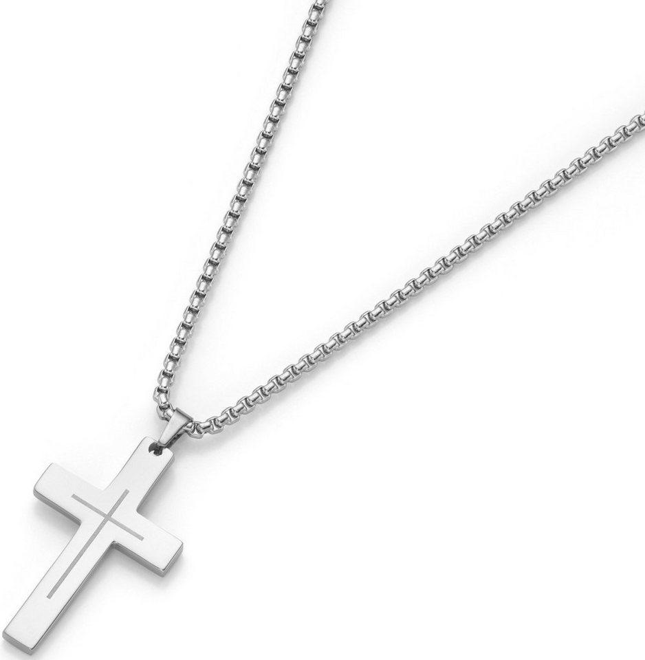 firetti Kette mit Anhänger, »Kreuz« in silberfarben