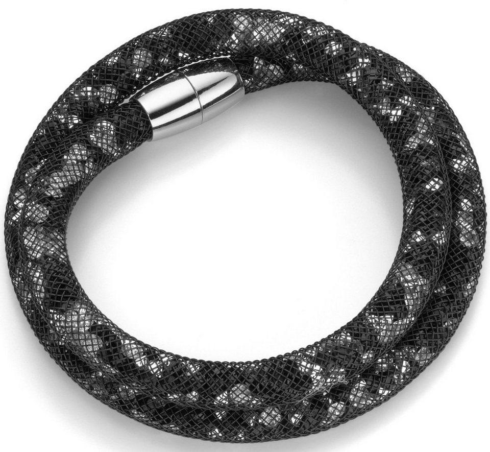 firetti Armband zum Wickeln mit Kristallsteinen in silberfarben-schwarz