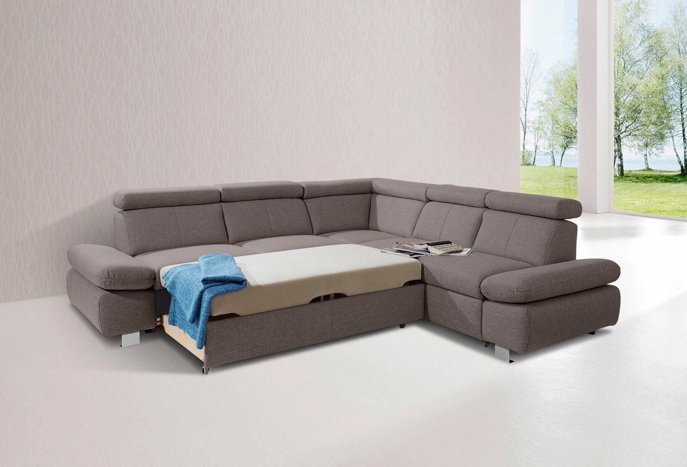 exxpo - sofa fashion Polsterecke, mit langem Schenkel und wahlweise Bettfunktion