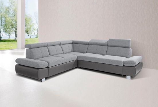exxpo - sofa fashion Ecksofa, inklusive Rückenverstellung und Armteilverstellung, wahlweise mit Bettfunktion
