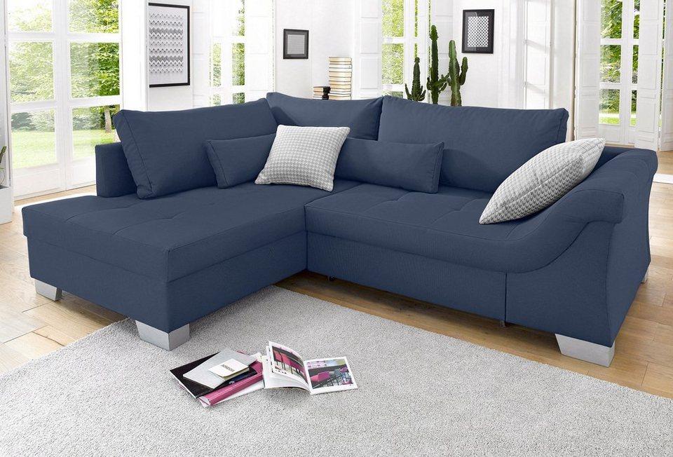 Polsterecke, wahlweise mit Bettfunktion in blau
