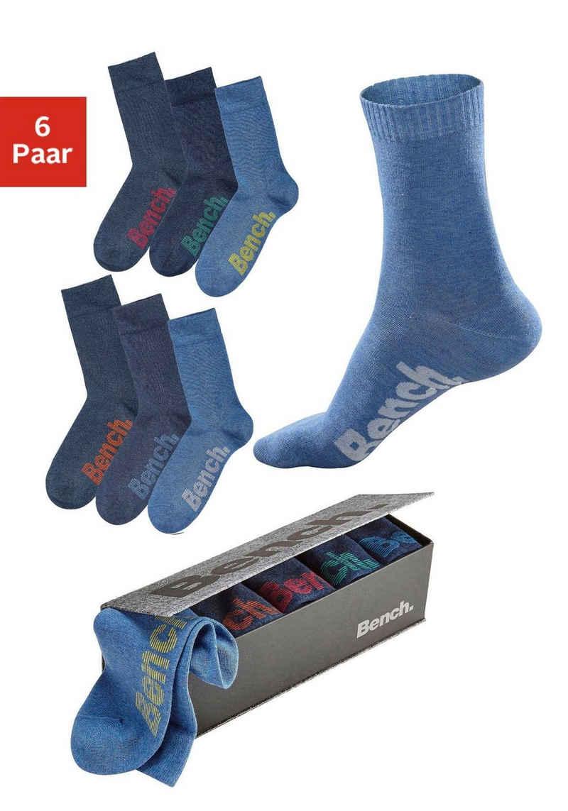 Bench. Socken (Box, 6-Paar) mit verschiedenfarbigen Logos