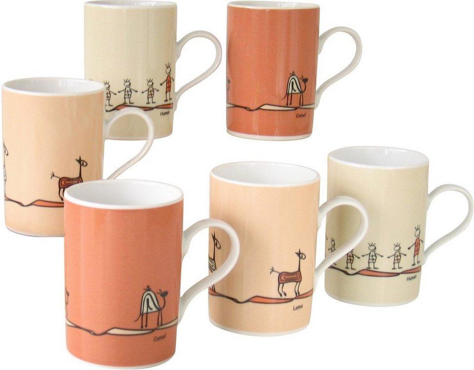CreaTable Kaffeebecher, Porzellan, 6Teile, »ROMA NATURE« in orange/beige/natur