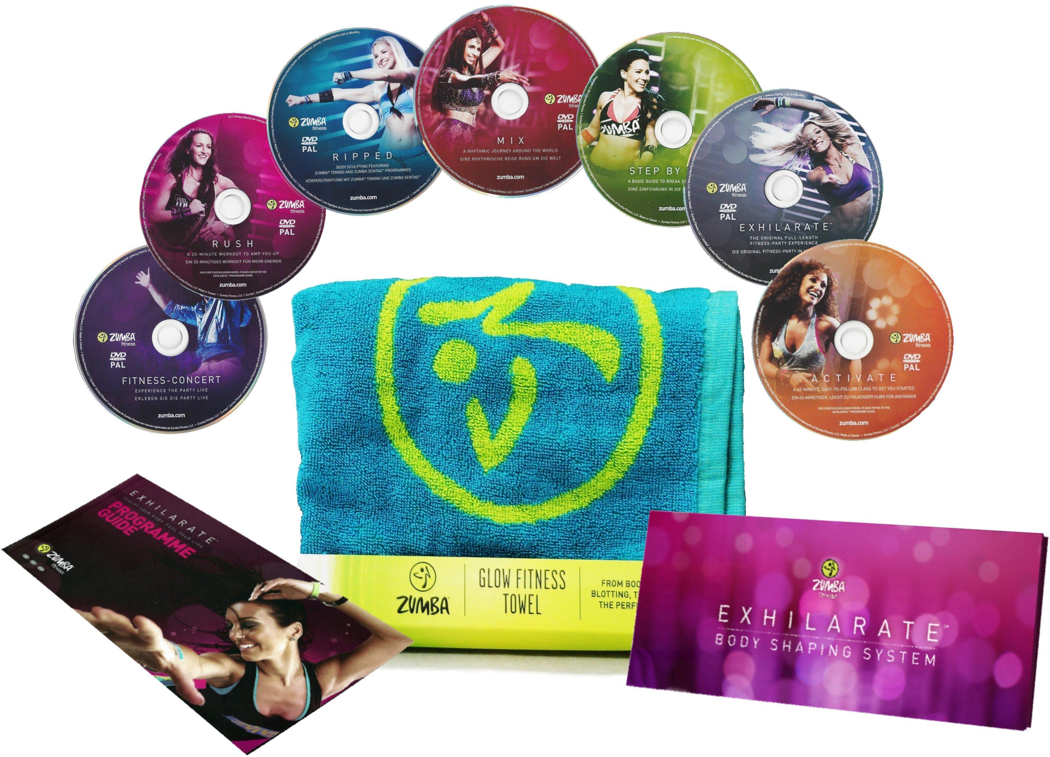 Zumba® Fitness Workout DVD Set, »Zumba® 7tlg. Exhilarate DVD-Set mit Glow Fitness Towel«