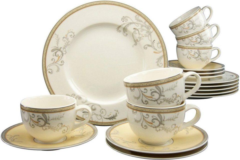CreaTable Kaffeeservice, 18-teilig, Premium-Porzellan, »Villa Medici« in weiß/gold