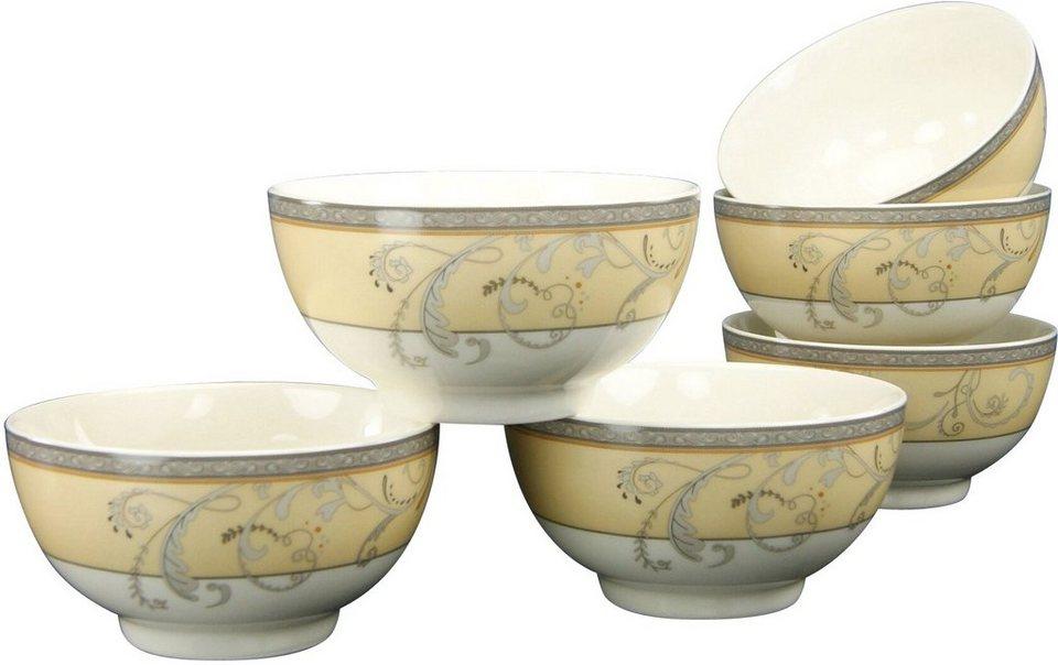 CreaTable 6 Müslischalen, Premium-Porzellan, »Villa Medici« in weiß/gold