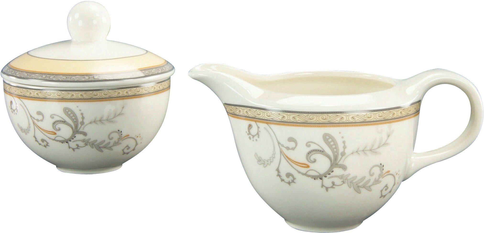 CreaTable Milch/Zucker-Set, Premium-Porzellan, »Villa Medici«
