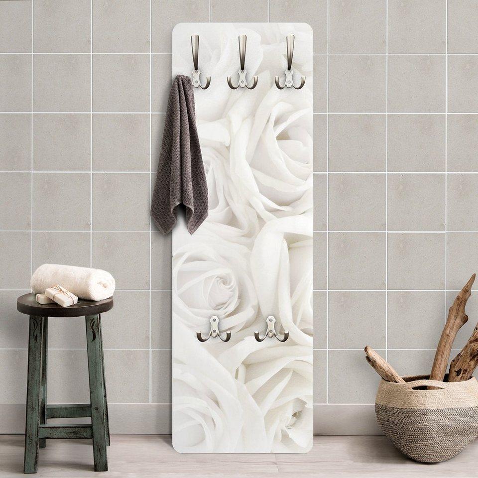 Bilderwelten Wandgarderobe 139x46x2cm »Blumenmotiv Weiße Rosen« in Weiß