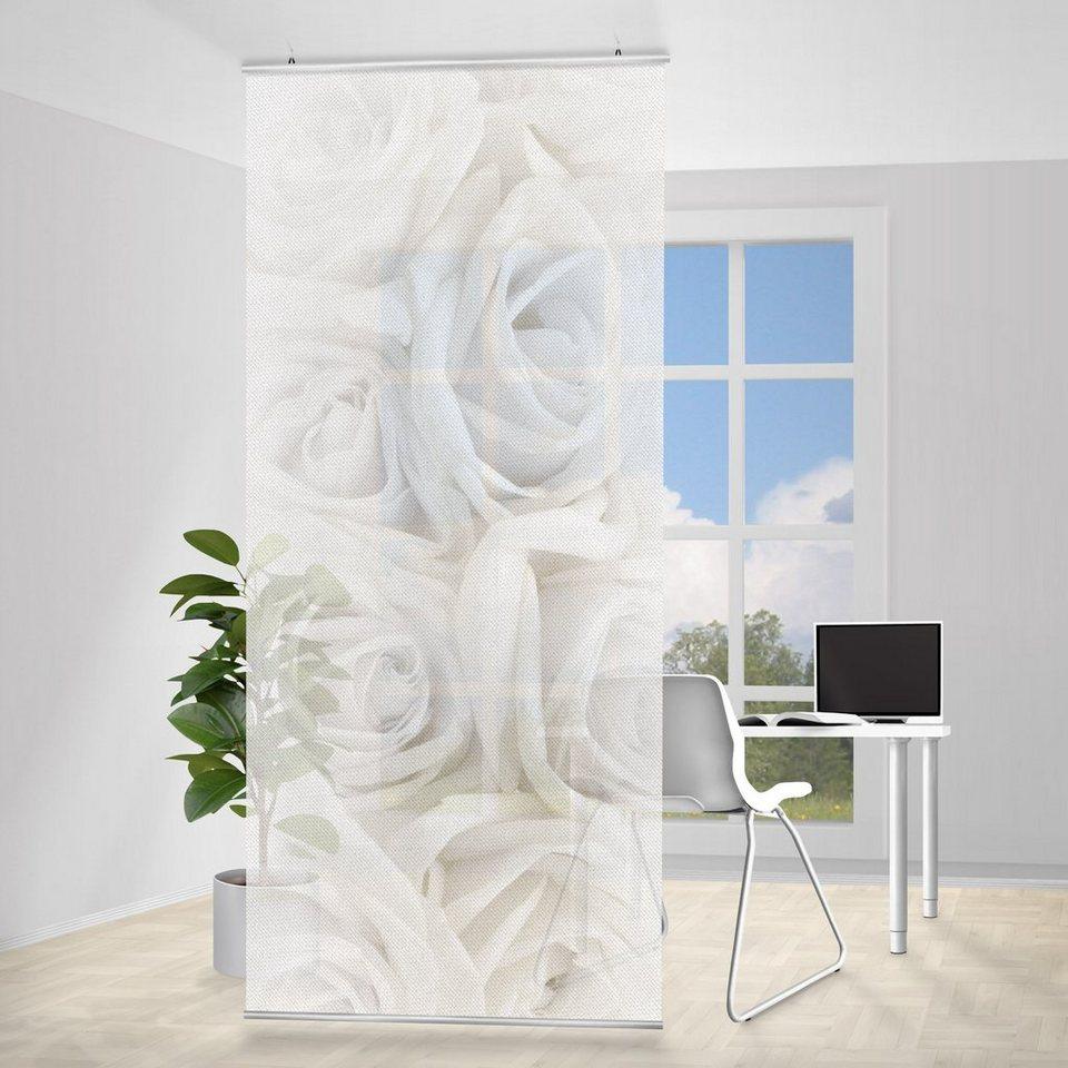 Bilderwelten Raumteiler 250x120cm »Weiße Rosen« in Weiß