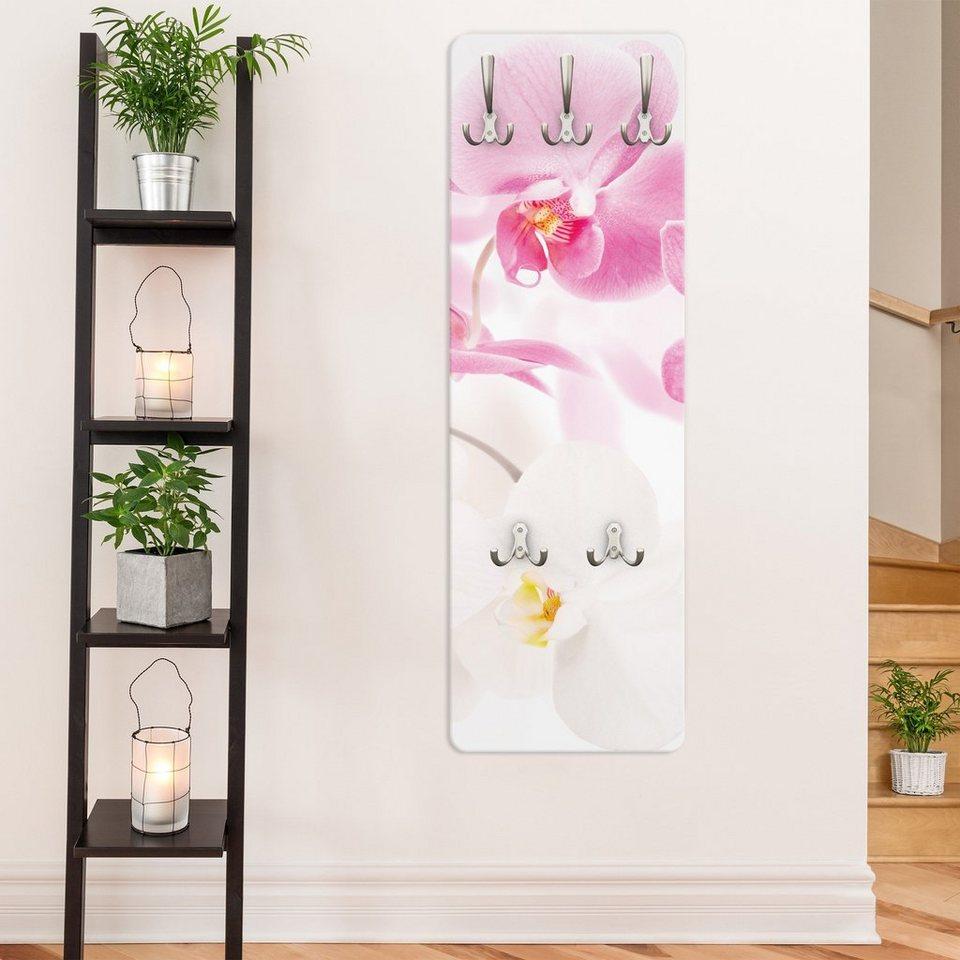 Bilderwelten Wandgarderobe Blumen 139x46x2cm »Delicate Orchids« in Pink