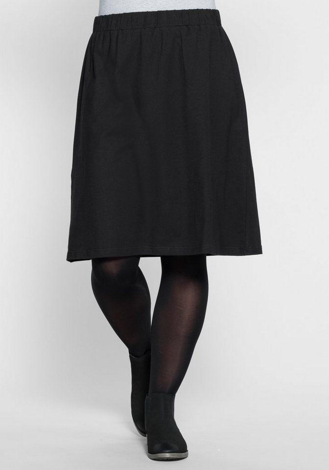 sheego Casual Jerseyrock in A-Form in schwarz