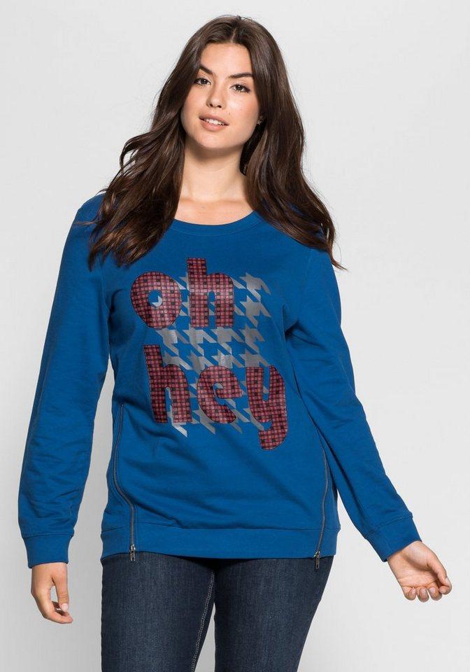 sheego Casual Sweatshirt mit Zippern in indigo
