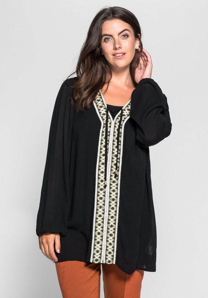 sheego Style Tunika mit Bordüre in schwarz